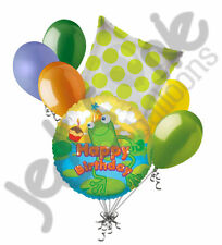 7 pc Happy Birthday Frog Balloon Bouquet Party Decoration Pond Swamp Amphibian