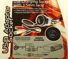 In car USB charging socket with 3.5mm jack
