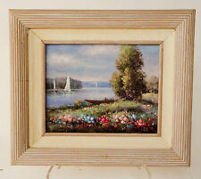 Oil On Canvas Coastal Boats Scene Framed Painting by H. GAILEY (Howard Gailey)