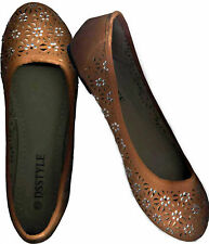 NWOB,CRYSTAL STUDDED CLASSIC BURNT SIENNA CLOSE TOE SUEDE FLAT SHOES_S40 /39