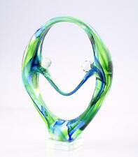 "New 11"" Hand Blown Art Glass Fused Sculpture Figurine Statue Green Blue"