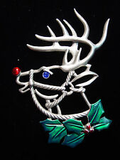 """JJ"" Jonette Jewelry Silver Pewter 'RUDOLPH the Red-Nosed Reindeer' Pin"