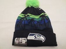 NEW ERA NFL WINTER TIDE KNIT POM BEANIE CAP HAT SEATTLE SEAHAWKS BLACK