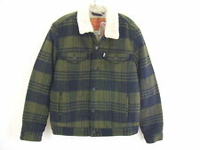 Levis Olive Green & Black Plaid Sherpa Trucker Jacket Mens Size Medium NWT