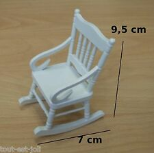 rocking chair en bois laqué blanc miniature maison de poupée,vitrine,meuble  M3