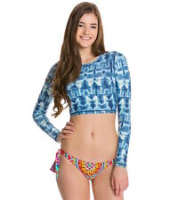 NW Billabong Shibori Crop Cropped Rash Guard Long Sleeve Shirt Top L large