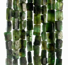 """7X4-8X6MM  NATURAL EMERALD GEMSTONE GREEN RECTANGLE TUBE LOOSE BEADS 13-14"""""""