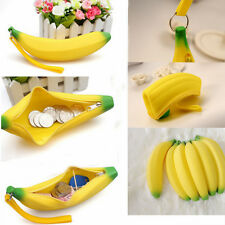 Fashion Novelty Silicone Portable Banana Coin Pencil Case Purse Bag Wallet Pouch