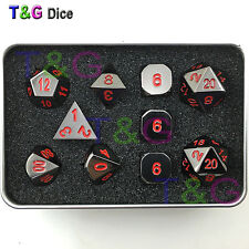 Polyhedral Metal Dice Nightmare Black D&D Pathfinder RPG 10 pcs - iron box