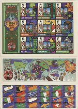 1994 COCA COLA WORLD CUP SOCCER GAMES LOCATION MAP,STICKER SET