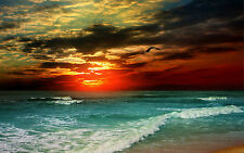 Large Framed Print - Beautiful Ocean Sunset (Picture Poster Beach Sea Waves Art)