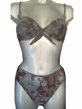 New Snake Print Bikini 10 for B Cups Underwired Blue & Brown No padding Fr 40
