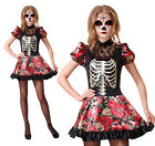 Ladies Day Of The Dead Doll Fancy Dress Costume Halloween Skeleton Outfit New