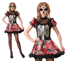 Ladies Day Of The Dead Doll Fancy Dress Costume Halloween Skeleton UK 10-14
