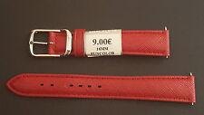 BRACELET MONTRE CUIR VERITABLE DE VEAU ROUGE 16mm  REF.QB33