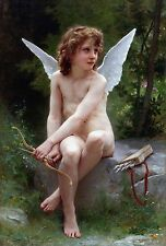 "1890- William Bouguereau, Love on the Look Out, Cupid, antique,16""x11"" Art Print"