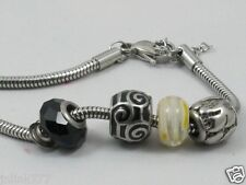 o38:New Stainless Steel Bracelet with Pandora Charms-Silver Tone