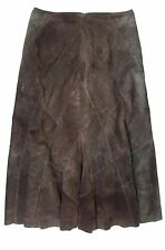 Ladies Designer WALLIS UK 14 Brown Suede Leather Panel Long Flared Bottom Skirt