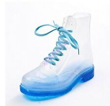Summer Fashion Ladies Girls PVC Transparent Crystal Clear Flat Water Rain Boots