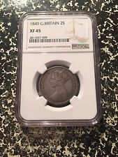 1849 Great Britain 1 Florin 'Godless' NGC XF45 Lot#G170 Nice Example! Silver!