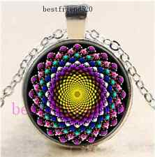 Bling Sacred Geometry Cabochon Glass Silver Chain Pendant Necklace