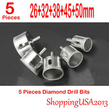 5 Pcs 26-50mm Diamond Coated Drill Bits Set Hole Saw Cutter Tool Glass Marble@@