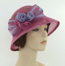New Woman Church Derby Wedding Sinamay Ascot Cloche Dress Hat SDL-001 Magenta