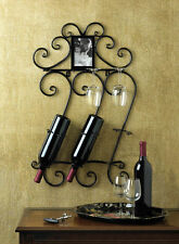 WINE WALL SCROLLWORK MOUNTED RACK AND PHOTO FRAME DECOR ~10015695