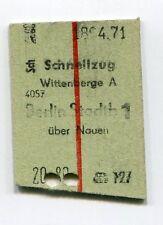 Ältere Fahrkarte: Schnellzug Wittenberge A - Berlin Stadtb 1 (18.04.71) beschn.