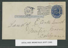 "UX21a PC USED ""BRONZE BLUE"" VARIETY UPSS #S28a SELDOM SEEN SCOTT $100.00"