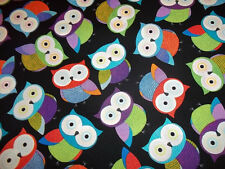 OWLS  on BLACK  COLOR FABRIC by TIMELESS TREASURES 100% COTTON - NEW!!!