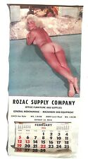VINTAGE 1956 ROZAC SUPPLY COMPANY Naked Girl (Gloria) Hanging Calendar MICH