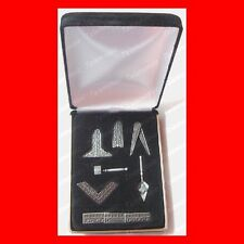 "FREE MASON'S BEST MASONIC""WORKING TOOLS""DESK GIFT SET+VELVET BOX FREEMASON PEWTR"