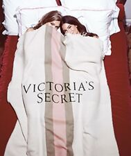 NEW VICTORIA'S SECRET LOGO IVORY PINK BROWN STRIPE BLANKET THROW LARGE CUTE