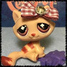 Littlest Pet Shop Tabby Cat Monopoly No # Mauve Maroon Clover Eyes BLEMISHED