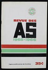 1965-66 Quebec Aces vs Baltimore Clippers Original AHL Hockey Program