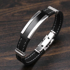 Mens Silver Stainless Steel Black Rubber Bangle Bracelet Clasp Cuff Wristband