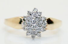 10K Solid Yellow Gold 1/3 TCW Diamond Cluster/Cocktail Ring .30+ Carats