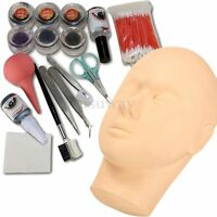 Mannequin Training Head + False Eyelashes Extension Makeup Cosmetic Glue Set Kit