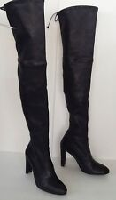 STUART WEITZMAN STRETCH LEATHER HIGHLAND BOOTS Black Sz 9