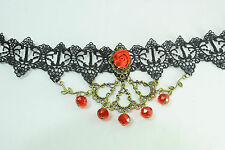LADIES BRONZE / BLACK LACE LAYERED CHOKER INFUSED RED ROSE & BOLD BEADS (CL17)