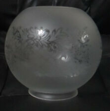 "4"" fitter Satin Frosted Bow Scroll Floral Etched Gas Oil Ball Lamp Shade BS502i"