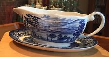 LIBERTY BLUE STAFFORDSHIRE CHINA GRAVY BOWL WEST POINT&UNDERPLATE GOVERNOR - EUC
