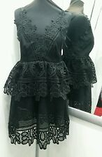 Backless black self portrait style lace v neck tear dress size small dolls house