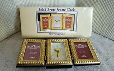 "Solid Brass Photo Frame Clock Holds 2""x3""/6×8cm Photos (vintage) LP4854. (B12)"