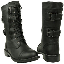 Womens Mid Calf Boots Strappy Buckles Lace Up Combat Shoes Black Sz 8