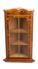 Antique Style English Hanging Yew Wood Corner Cabinet Cupboard