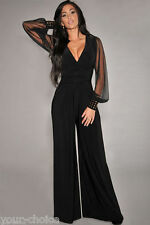 BLACK EMBELLISHED CUFF WIDE LEG EVENING PARTY JUMPSUIT PLAYSUIT SIZE 16 18 NEW