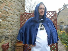 Custom-made short hooded cape - midnight blue velvet - LARP/cosplay/wicca/ritual