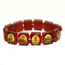 Bracelet religieux en bois avec icones orthodoxes russe Bracelet des Saints